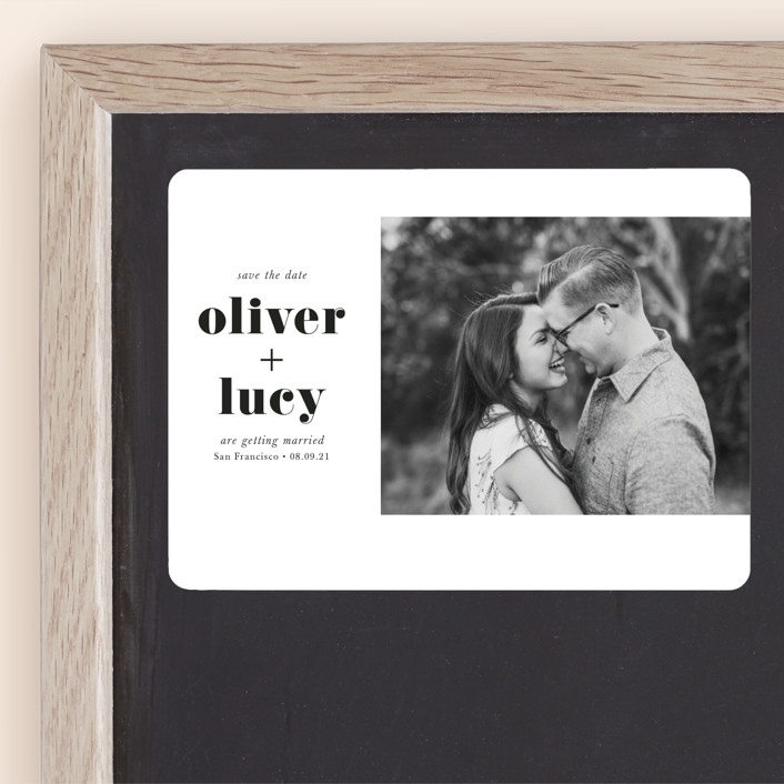 """Modern Simplicity"" - Minimalist, Simple Save The Date Magnets in Monochrome by Hudson Meet Rose."