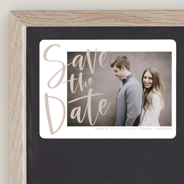 """Simple Love"" - Save The Date Magnets in Tan by Vine and Thistle."