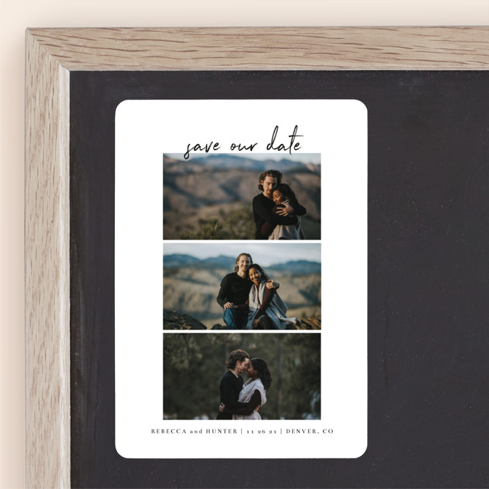 """Simple Trio"" - Save The Date Magnets in Charcoal by Calluna Fine Paper."