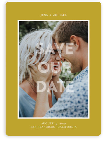 This is a bold and typographic, simple and minimalist, yellow Save the Dates by Jessica Voong called In Love with Standard printing on Magnet Paper in Magnet Flat Card format. A simple and minimal design featuring one photo.