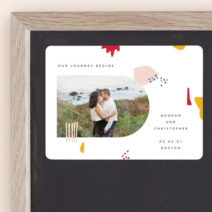 """Emilie"" - Modern Save The Date Magnets in Blush by Karen Schipper."