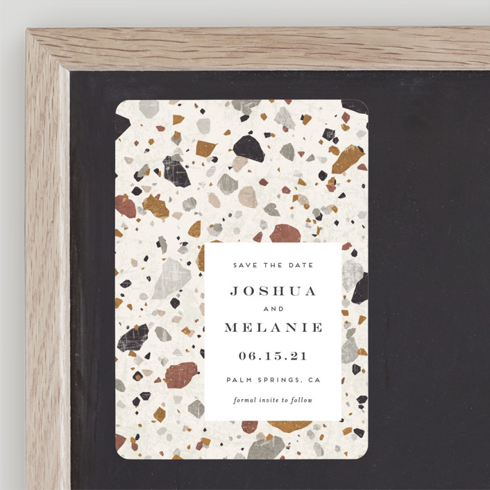 """""""Terrazzo"""" - Modern, Bohemian Save The Date Magnets in stone by Amy Payne."""