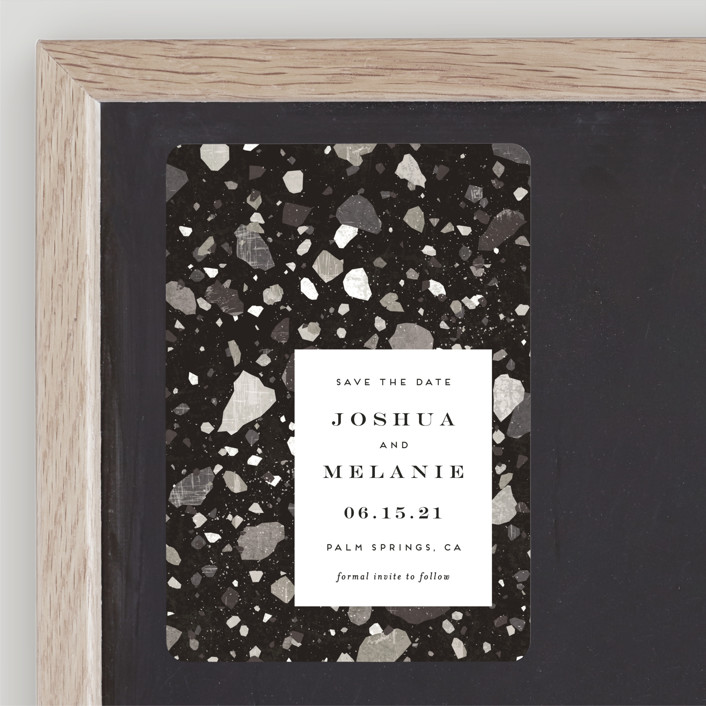 """Terrazzo"" - Modern Save The Date Magnets in stone by Amy Payne."