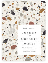 This is a beige save the date magnet by Amy Payne called Terrazzo with standard printing on magnet paper in magnet.
