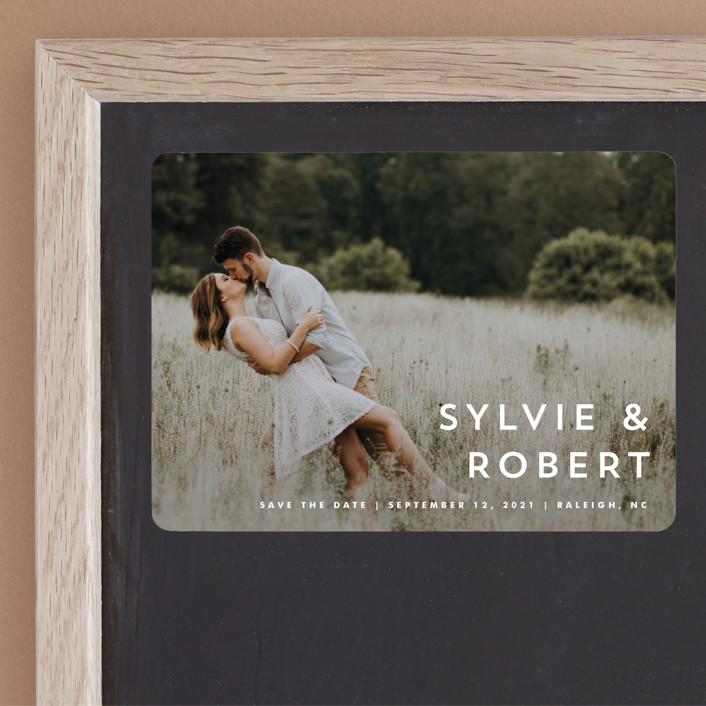 """""""Modern offset"""" - Save The Date Magnets in Cream by Stacey Meacham."""