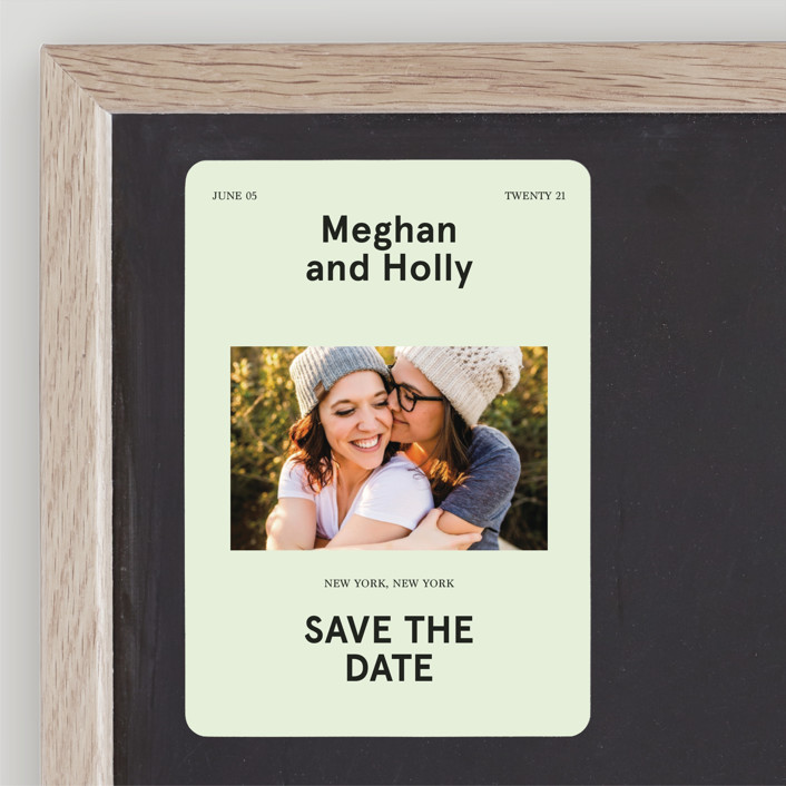 """Booklet"" - Save The Date Magnets in Fern by Jack Knoebber."