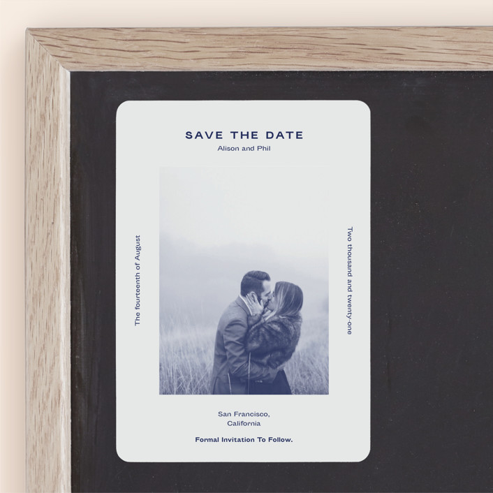 """""""Flyer"""" - Save The Date Magnets in Navy by Jack Knoebber."""