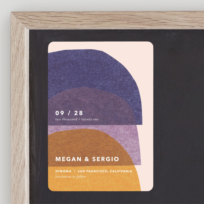 """""""cut-paper bells"""" - Modern Save The Date Magnets in Sunrise by Carrie Moradi."""