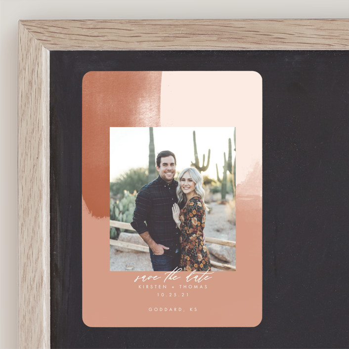 """""""Minimalist Abstract Sunset"""" - Save The Date Magnets in Terracotta by Stephanie Given."""