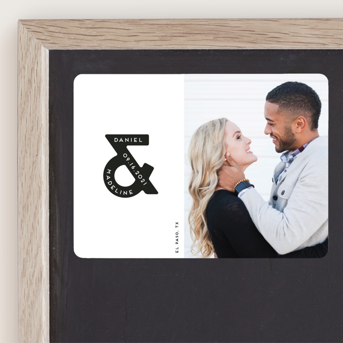 """""""Ampersand us"""" - Minimalist, Simple Save The Date Magnets in Fog by Gwen Bedat."""