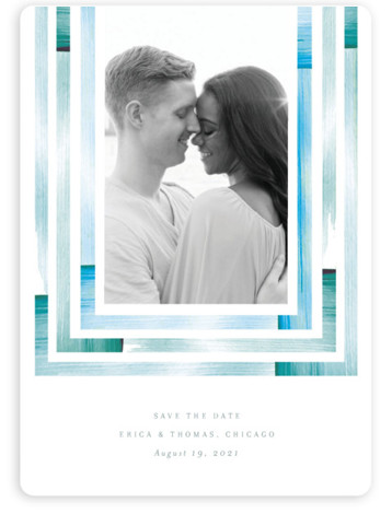 This is a painterly, simple and minimalist, watercolor, blue Save the Dates by Baumbirdy called freshly framed with Standard printing on Magnet Paper in Magnet Flat Card format. Single photo save the date