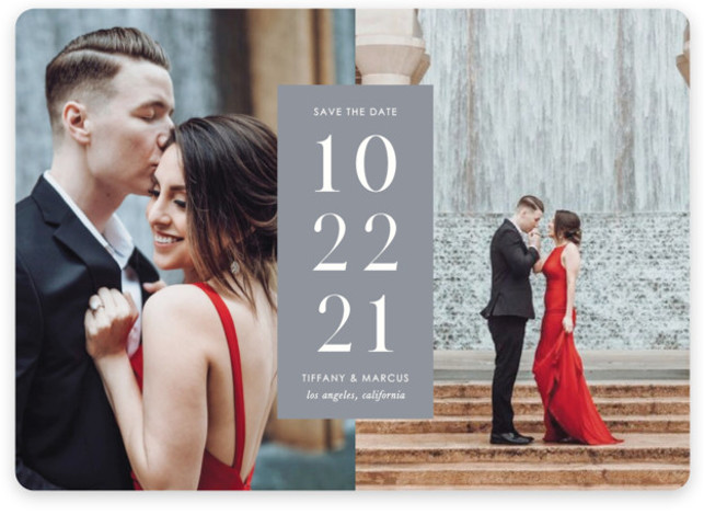This is a bold and typographic, classic and formal, minimalist, simple and minimalist, grey Save the Dates by Katy Shen called Contemporary Date with Standard printing on Magnet Paper in Magnet Flat Card format. Showcase your photos with this minimal ...