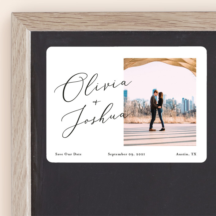 """""""Modern day names"""" - Save The Date Magnets in Onyx by Heather Francisco."""