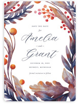 This is a blue save the date magnet by Snow and Ivy called Autumn Canopy with standard printing on magnet paper in magnet.