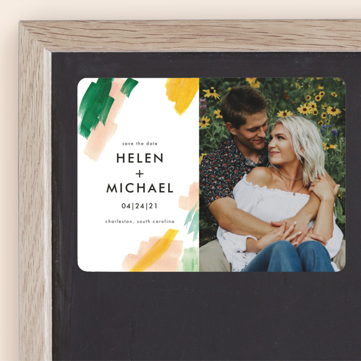 """""""Hamptons"""" - Modern Save The Date Magnets in Melon by Erika Firm."""