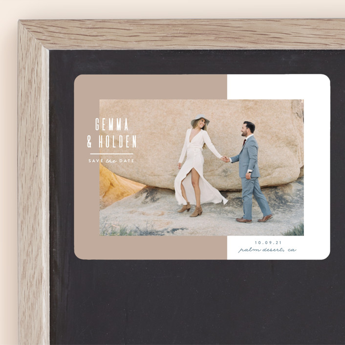 """""""Block Party"""" - Minimalist, Simple Save The Date Magnets in Sand by Owl and Toad."""
