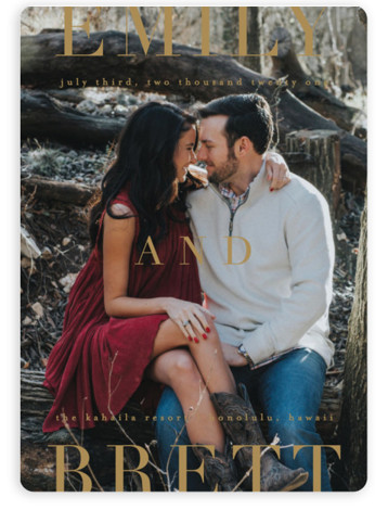This is a bold and typographic, brown Save the Dates by Kelly Schmidt called Chic with Standard printing on Magnet Paper in Magnet Flat Card format. Bold typography frames your photo in this save the date