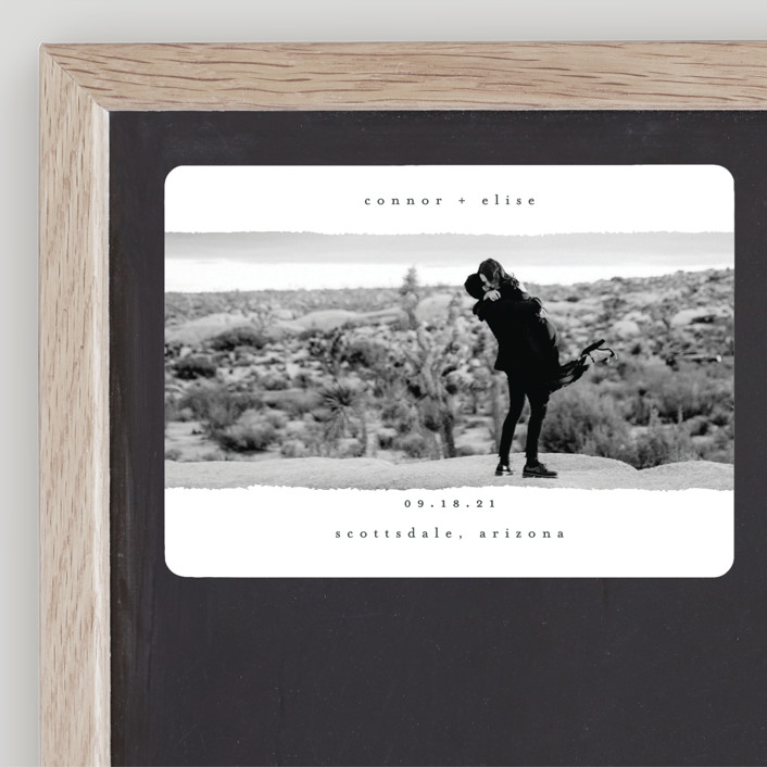 """happening"" - Minimalist, Modern Save The Date Magnets in Charcoal by Faith Dorn."