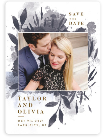 This is a botanical, blue Save the Dates by Robert and Stella called Watercolor Spill with Standard printing on Magnet Paper in Magnet Flat Card format. This save the date card features loose watercolor foliage
