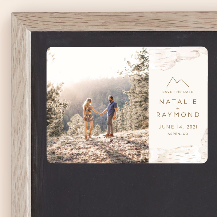 """""""Birchbark"""" - Rustic Save The Date Magnets in Natural by Kelsey Mucci."""