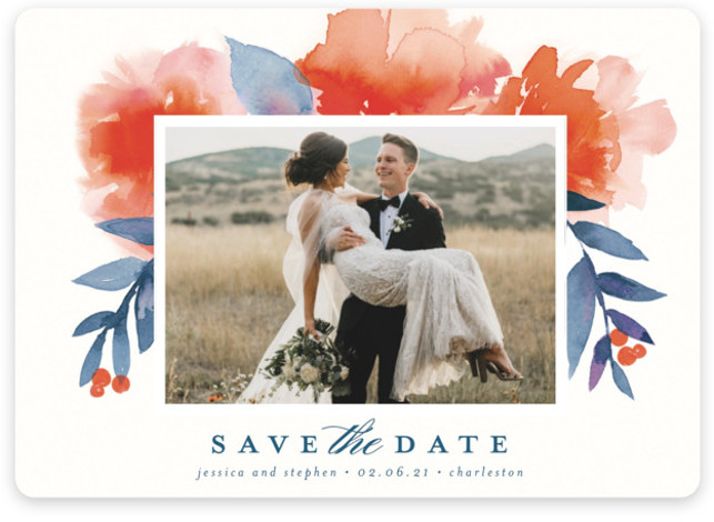 This is a botanical, floral, painterly, orange Save the Dates by Lori Wemple called Blooms + Berries with Standard printing on Magnet Paper in Magnet Flat Card format. Watercolor berry