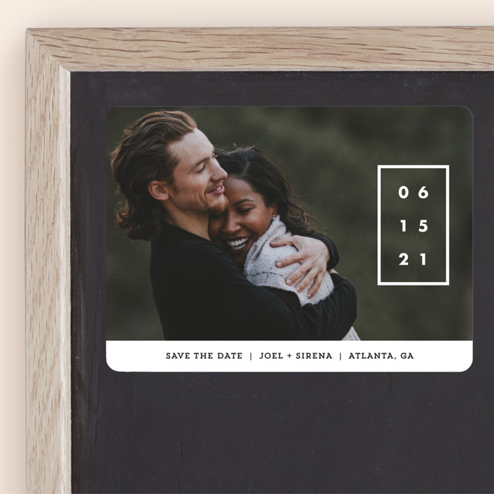 """""""Cherished Date"""" - Save The Date Magnets in Pearl by Chryssi Tsoupanarias."""