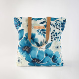This is a blue snap tote by Chris Griffith called Primroses Forever.