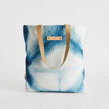 This is a blue snap tote by Agnes Pierscieniak called Indigo Diamond.