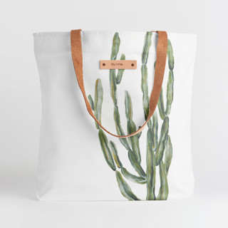 This is a white snap tote by Lissabeth Anglin called Simple Cacti.