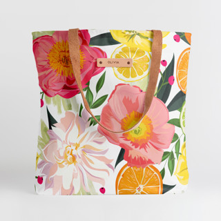 This is a pink snap tote by Susan Moyal called Market Fresh in standard.