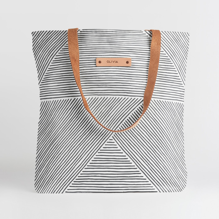 Line Mix Snap Tote, $30