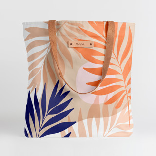 This is a pink snap tote by Dominique Vari called Tropical mood in standard.