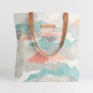 This is a blue snap tote by Monika Drachal called Abstract View.