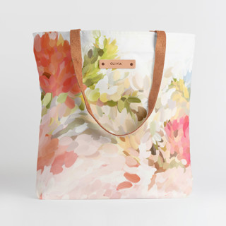This is a pink snap tote by Amy Hall called Spring Bloom.