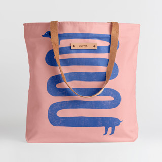 This is a blue snap tote by Katja Ja called Dachshund.