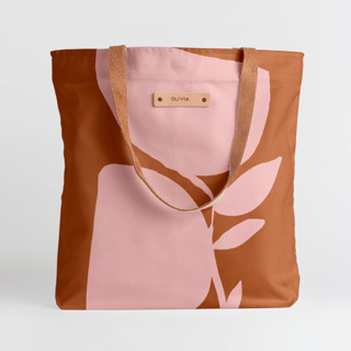 This is a pink snap tote by Creo Study called Urban garden in standard.