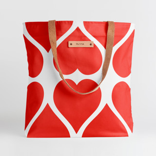 This is a red snap tote by kelli hall called Big Heart in standard.