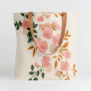 This is a pink snap tote by Erin German called Botanical Cascade in standard.
