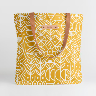 This is a yellow snap tote by Michelle Taylor called Deconstruct in standard.
