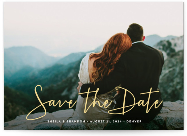 This is a landscape, portrait, square orientation classic and formal, full bleed photo, modern, simple, yellow Save the Dates by Hooray Creative called Stylish Script with Standard printing on Signature in Postcard Flat Card format. A lovely, modern script to ...