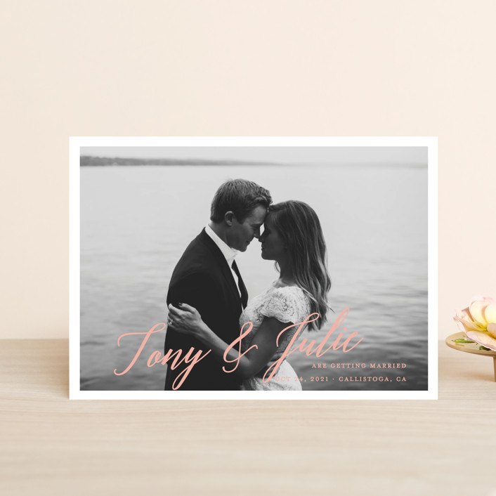 """""""All in the Name"""" - Save The Date Postcards in Pearl by Kaydi Bishop."""