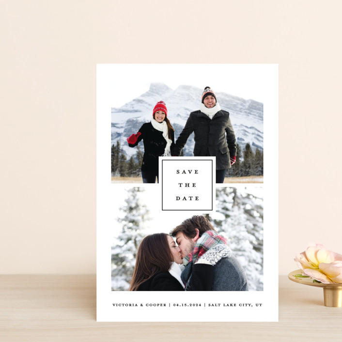 """""""All In"""" - Save The Date Postcards in Blanc by Stacey Meacham."""