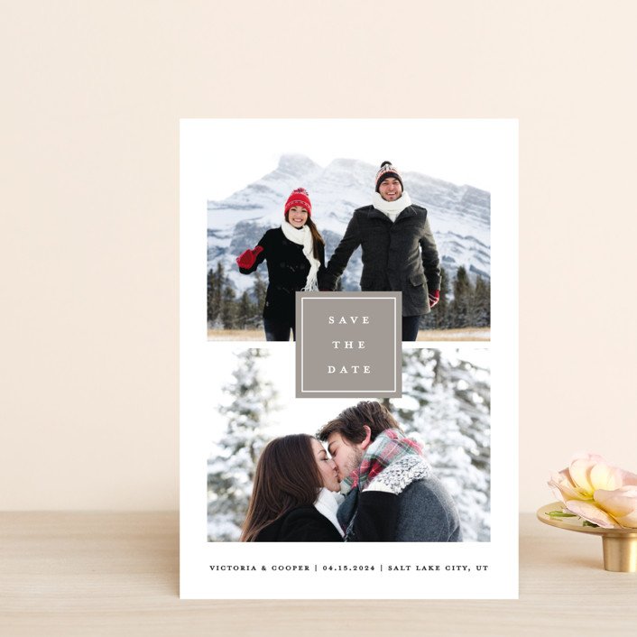 """All In"" - Save The Date Postcards in Blanc by Stacey Meacham."