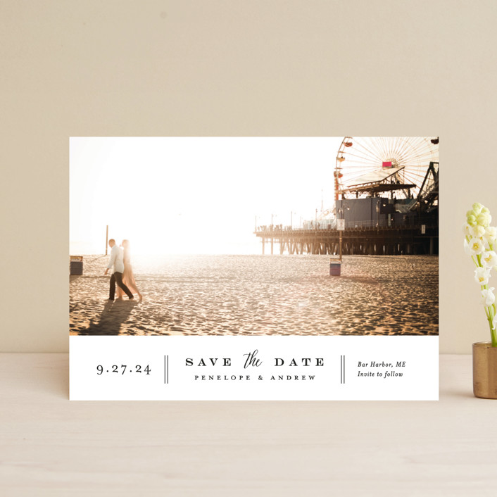 """Bottom Line"" - Save The Date Postcards in Vanilla by Jennifer Wick."