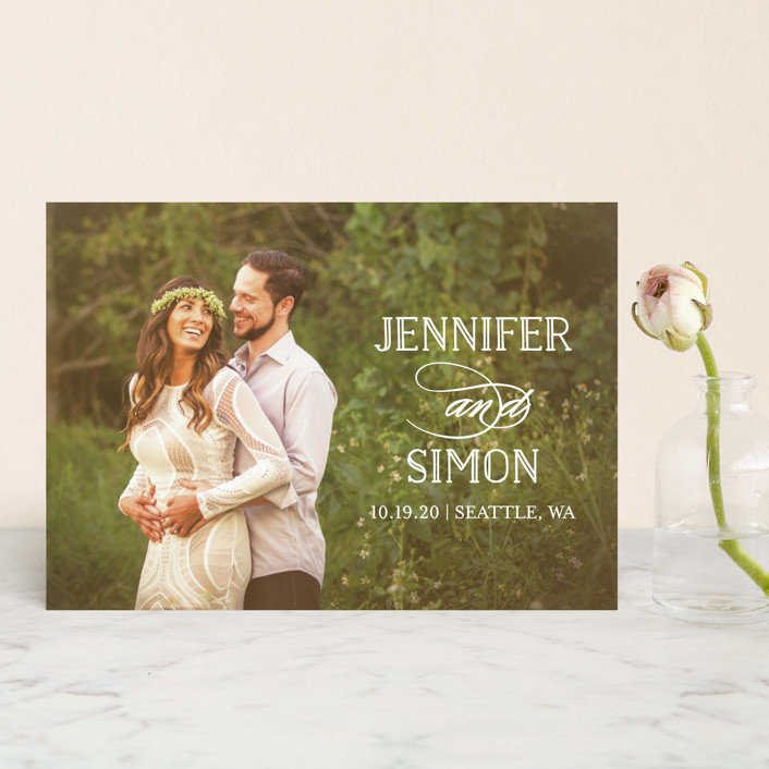 """Sunshine Of Your Love"" - Save The Date Postcards in Pearl by Little Words Design."