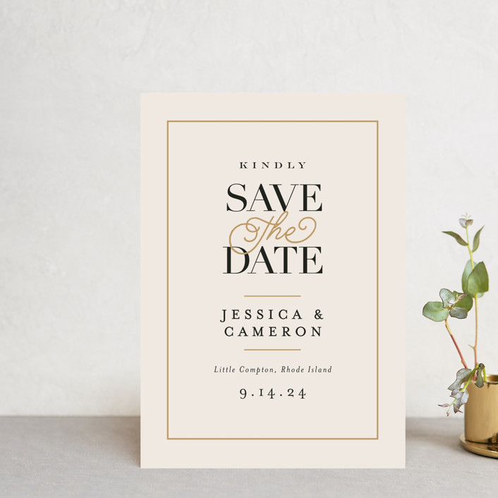 """""""Ivory Details"""" - Save The Date Postcards in Smoke by Jennifer Wick."""