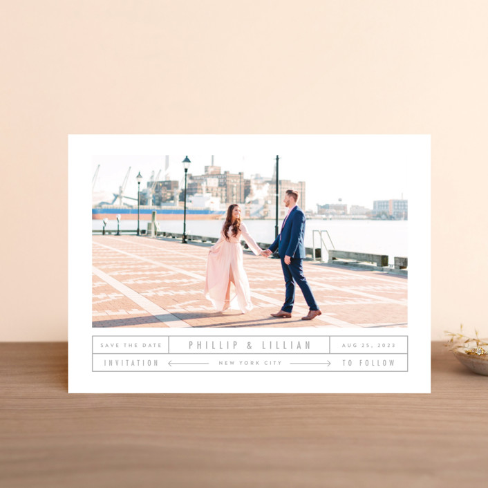 """Between The Lines"" - Save The Date Postcards in Blazer by Fine and Dandy Paperie."