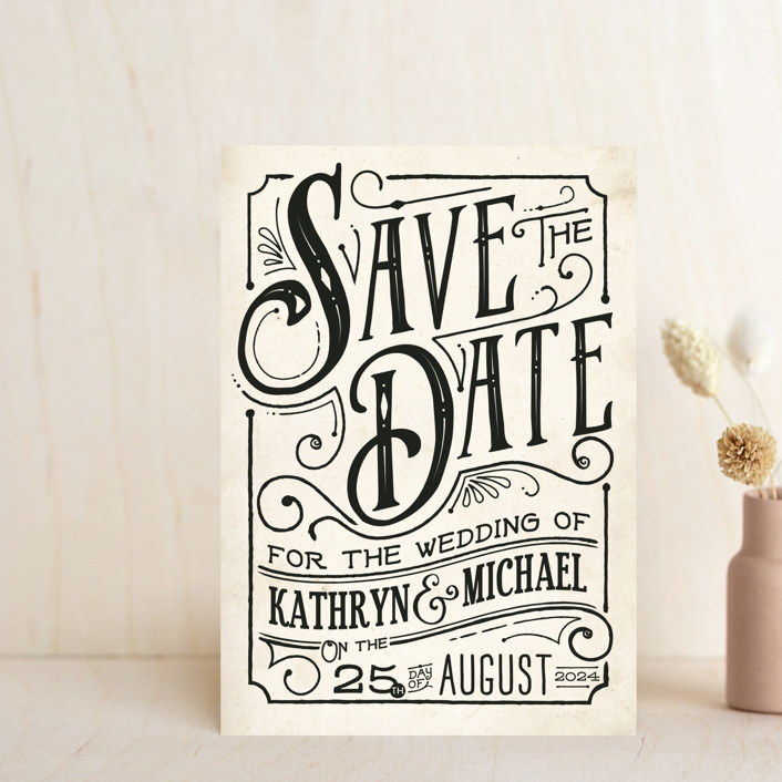 """""""Inked"""" - Rustic Save The Date Postcards in Parchment by GeekInk Design."""