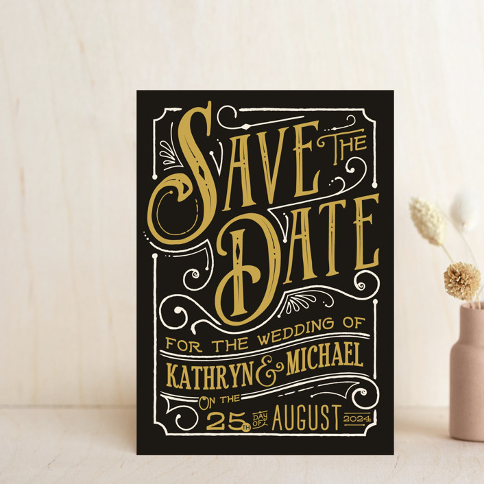 """Inked"" - Rustic Save The Date Postcards in Parchment by GeekInk Design."