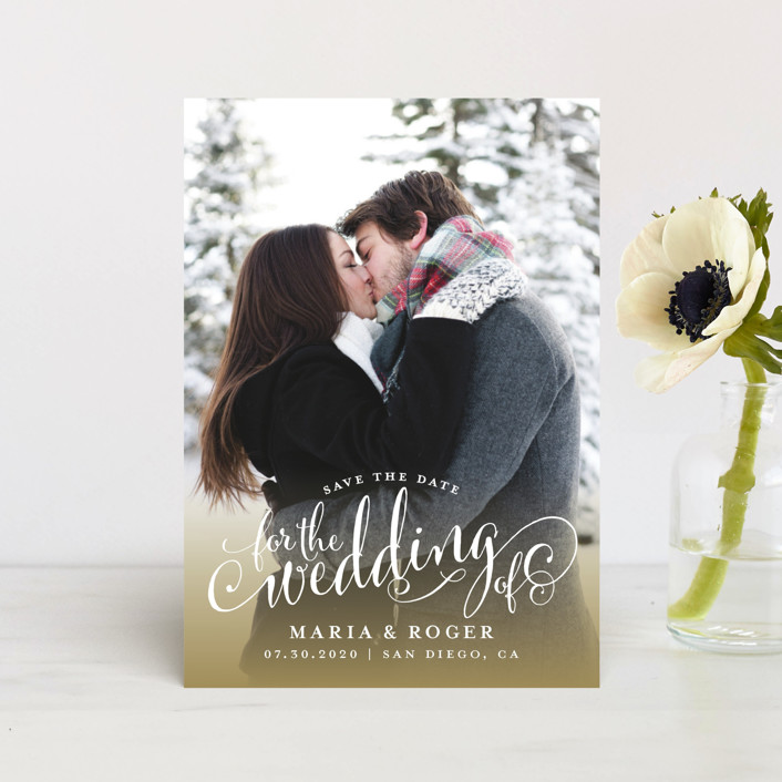 """Smashing Script"" - Save The Date Postcards in Powdered Snow by Jill Means."